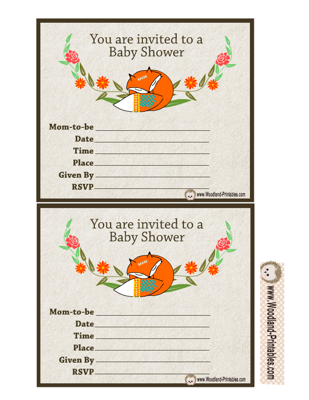 Free Printable Woodland Baby Shower Party Invitations – Baby Shower Party Invitations