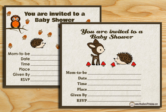 picture regarding Free Printable Woodland Animal Templates identified as Totally free Printable Woodland Little one Shower Celebration Invites