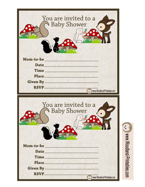 Woodland Animals Baby Shower Party Invitations