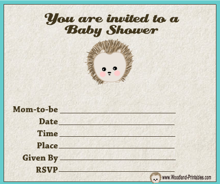 Free Printable Woodland Forest themed Boy Baby Shower Party Invitations