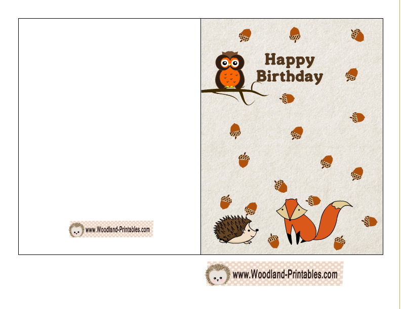 Free printable woodland birthday cards happy birthday card featuring fox hedgehog and owl bookmarktalkfo Image collections