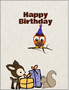 Free Printable Woodland Birthday Card