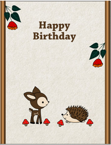 Free printable woodland birthday cards free printable birthday card featuring hedgehog and deer bookmarktalkfo Image collections