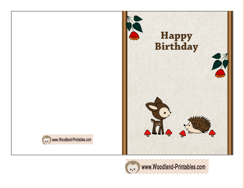 free printable birthday card featuring hedgehog and deer