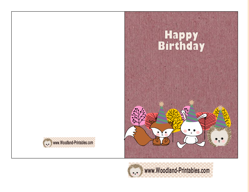 Free Printable Woodland Birthday Cards – Printable Birthday Card