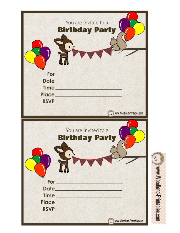 Free Printable Woodland Birthday Party Invitations – Invitations Birthday Party Free Printable