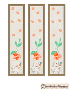 Free Printable Bookmarks with Rabbit and Flowers