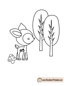Free Printable Woodland Deer Coloring Page