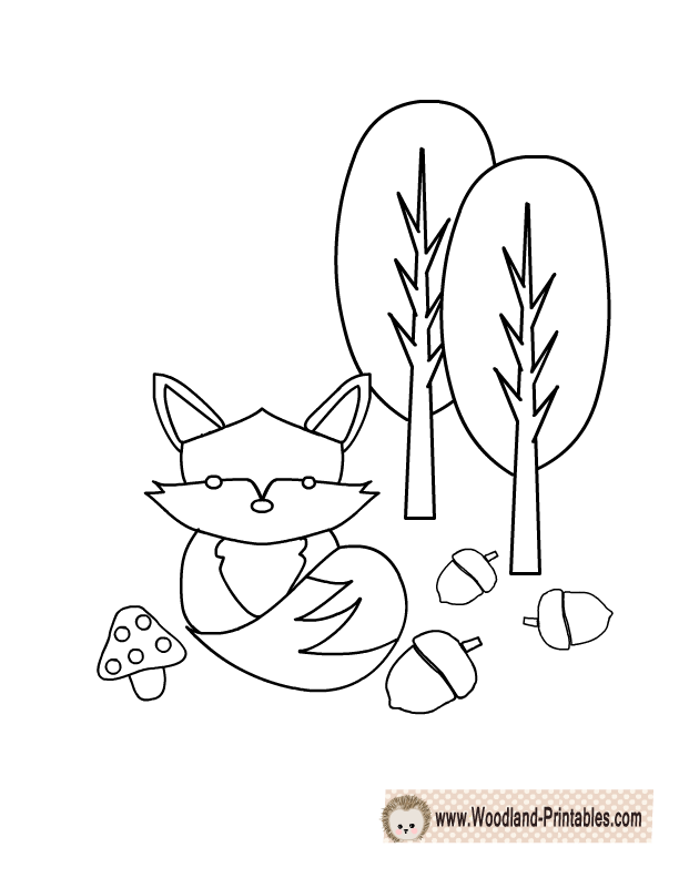 Cute Fox Coloring Page
