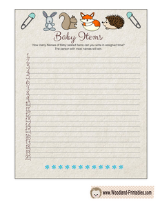 Woodland themed How many Baby Items can you Write Game