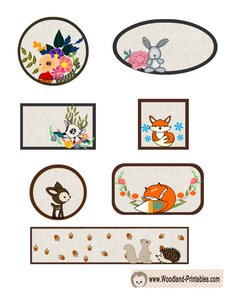 Cute Woodland Animals Labels