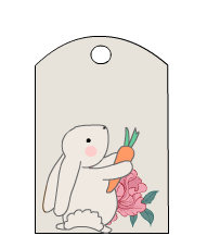 Cute Tags with Rabbit and Flowers