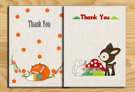 Free Printable Woodland Baby Shower Thank You Cards