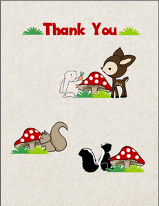Cute Thank You Card featuring Woodland Creatures
