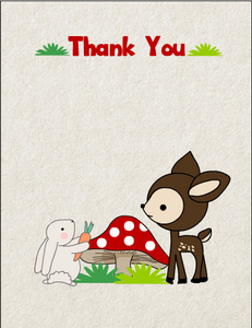 Free Printable Woodland Forest Baby Shower Thank You Card