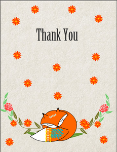 Cute Fox Thank You Card