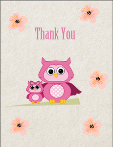 Cute Owl Thank You Card for Girl Baby Shower