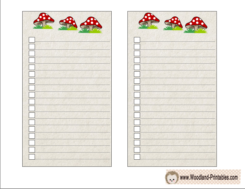 Free Printable Woodland Forest To Do Lists