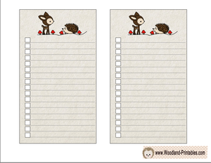 Free Printable To Do Lists with hedgehog and deer