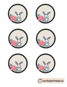 Cute Cupcake Toppers featuring Rabbit and Flower