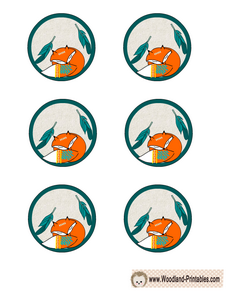 Free Printable Round Labels featuring Fox