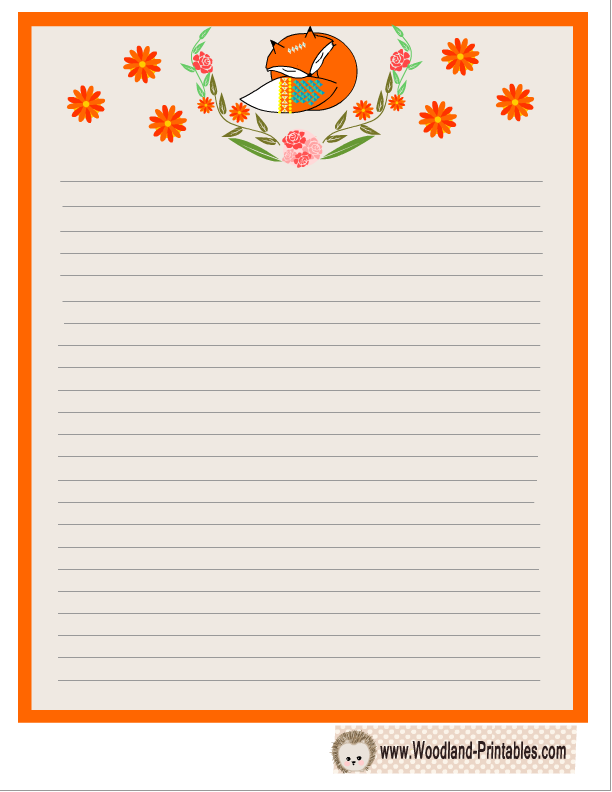 Cute Fox And Flowers Writing Paper  Free Printable Writing Paper