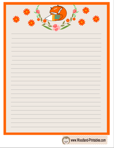Cute Fox and Flowers Writing Paper
