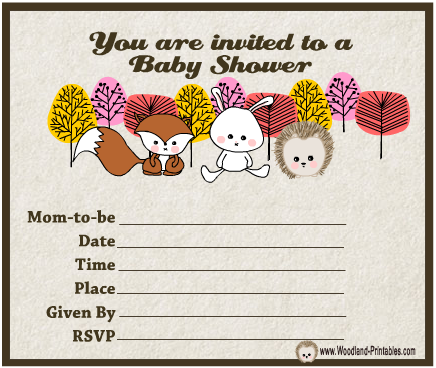 Cute Woodland Ceatures themed Baby Shower Party Invitations