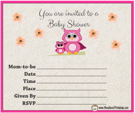 Free Printable Owl themed Girl Baby Shower Party Invitations