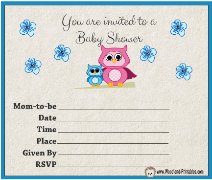 Free Printable Owl themed Boy Baby Shower Party Invitations