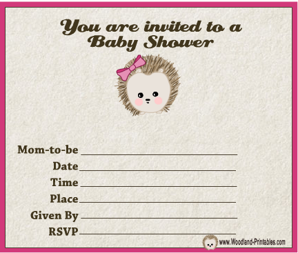 Free Printable Woodland Forest themed Girl Baby Shower Party Invitations